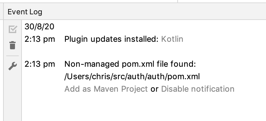 Non-managed pom.xml file found